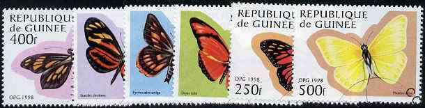 Guinea - Conakry 1998 Butterflies complete perf set of 6 values, cto used*