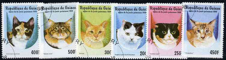 Guinea - Conakry 1998 Domestic Cats complete perf set of 6 values, cto used*
