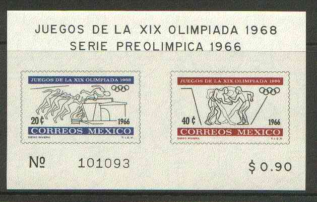 Mexico 1965 Olympic Games (2nd Issue - Postage) imperf m/sheet showing Running & Jumping & Wrestling, unmounted mint SG MS 1123