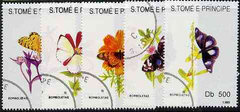 St Thomas & Prince Islands 1998 Butterflies complete perf set of 5 values, cto used*