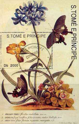 St Thomas & Prince Islands 1998 Butterflies perf miniature sheet cto used