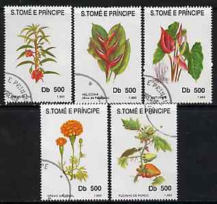 St Thomas & Prince Islands 1998 Flowers complete perf set of 5 values, cto used*