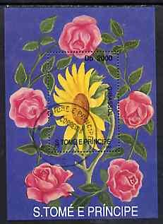 St Thomas & Prince Islands 1998 Flowers perf miniature sheet cto used