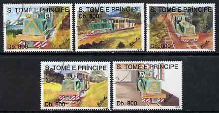 St Thomas & Prince Islands 1998 Narrow Gauge Railway complete perf set of 5 values, cto used*