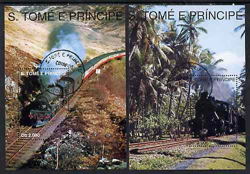 St Thomas & Prince Islands 1998 Railways set of 2 perf miniature sheets cto used