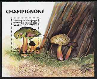 Cambodia 1997 Mushrooms perf miniature sheet containing 5400R value cto used