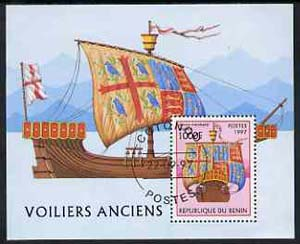 Benin 1997 Early Sailing Ships perf miniature sheet containing 1000F value cto used, SG MS1672
