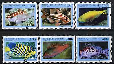 Benin 1997 Fish complete perf set of 6 values cto used, SG 1673-78*