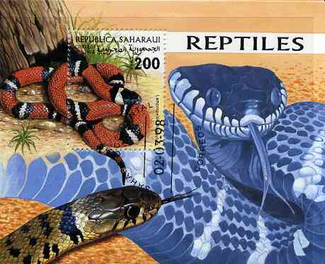 Sahara Republic 1998 Reptiles (Snakes) perf miniature sheet containing 200 value cto used