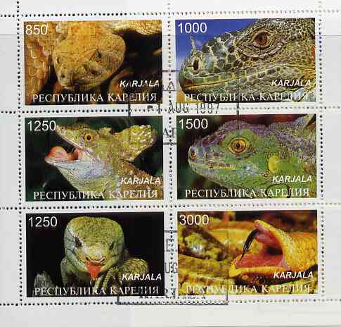 Karjala Republic 1997 Snakes perf sheetlet containing complete set of 6 cto used