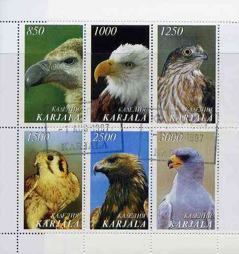 Karjala Republic 1997 Wild Birds perf sheetlet containing complete set of 6 cto used