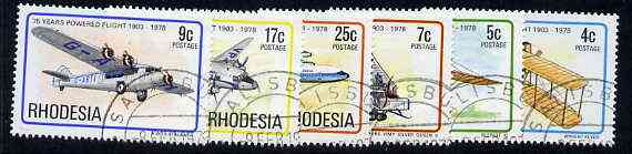 Rhodesia 1978 75th Anniversary of Powered Flight set of 6 very fine used, SG 570-75*