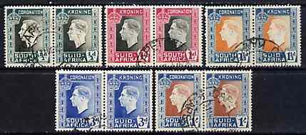 South Africa 1937 KG6 Coronation set of 5 bi-lingual horizontal pairs very fine used, SG 71-75