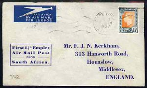 South Africa 1937 first flight cover to UK bearing KG6 Coronation 1.5d stamp with special cachet 'First 1.5d Empire Air Mail Post from South Africa'