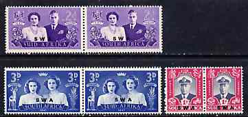 South West Africa 1947 KG6 Royal Visit set of 6 (3 bi-lingual horiz pairs) unmounted mint, SG 134-36