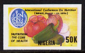 Nigeria 1992 Conference on Nutrition - 50k (Fruit & Vegetables) unmounted mint imperf single as SG 642