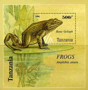 Tanzania 1996 Frogs perf miniature sheet containing 500s value unmounted mint, Mi BL 312