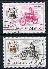 Ajman 1967 Motorcyclist (3Dh & 3R cto used from Transport perf set of 14) Mi 129 & 138*