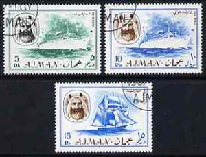 Ajman 1967 Ships (5Dh, 15Dh & 10R cto used from Transport perf set of 14) Mi 131, 132 & 140*