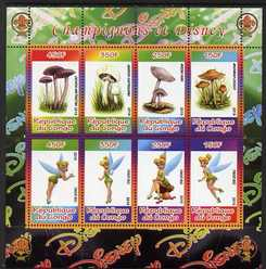 Congo 2010 Disney & Mushrooms perf sheetlet containing 8 values with Scout Logo unmounted mint