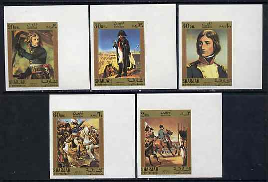 Sharjah 1970 Paintings of Napoleon imperf set of 5 Air Mail values (Mi 627-31B) unmounted mint*