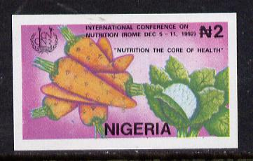 Nigeria 1992 Conference on Nutrition - 2N (Vegetables) unmounted mint imperf single as SG 645