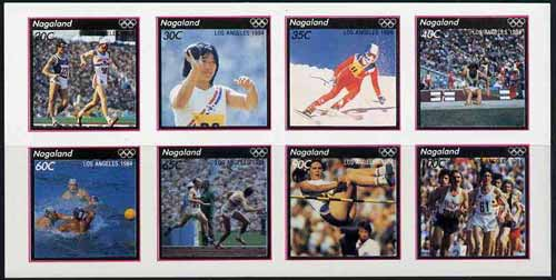 Nagaland 1984 Los Angeles Olympic Games imperf sheetlet containing complete set of 8 values unmounted mint