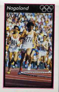 Nagaland 1984 Los Angeles Olympic Games (Running) imperf  deluxe sheet (2ch value) unmounted mint