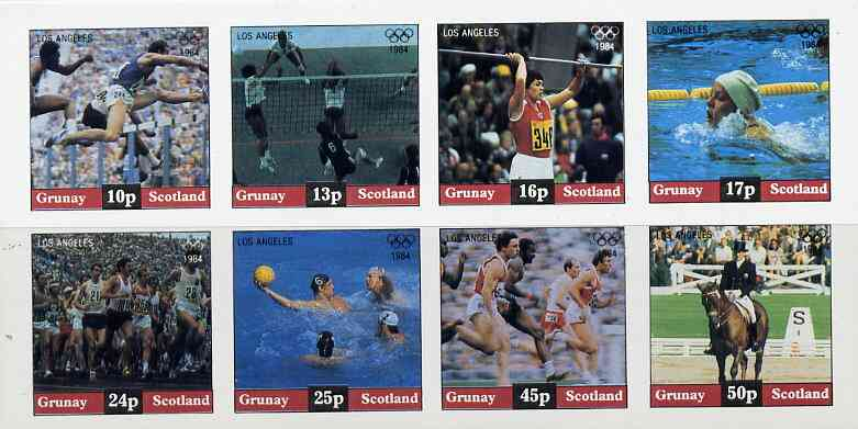 Grunay 1984 Los Angeles Olympic Games imperf  set of 8 values (10p to 50p) unmounted mint