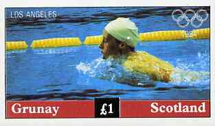 Grunay 1984 Los Angeles Olympic Games imperf souvenir sheet (Swimming) unmounted mint