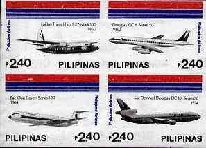 Philippines 1986 45th Airline Anniversary imperf se-tenant block of 4 x 2p40 on ungummed wmk'd paper, as SG 1951-54