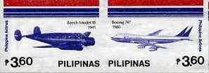 Philippines 1986 45th Airline Anniversary imperf se-tenant pair (2 x 3p60) on ungummed wmk'd paper, as SG 1955-56