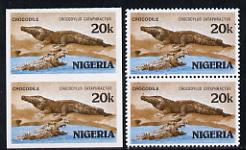 Nigeria 1986 Crocodile 20k in unmounted mint imperf pair* plus matched normal (as SG 510)