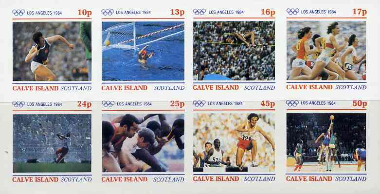 Calve Island 1984 Los Angeles Olympic Games imperf  set of 8 values (10p to 50p) unmounted mint
