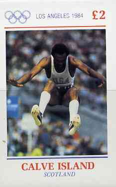 Calve Island 1984 Los Angeles Olympic Games (Long Jump) imperf deluxe sheet (�2 value) unmounted mint