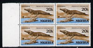 Nigeria 1986 Crocodile 20k in unmounted mint marginal block of 4 with inverted wmk (as SG 510)