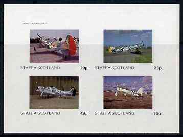 Staffa 1982 WW2 Aircraft #2 imperf set of 4 values unmounted mint