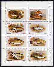 Staffa 1973 Fish #02 (Ruff, Carp, Barbel, Roach etc) perf  set of 8 values opt'd 200th Anniversary of Dr Johnson's Visit unmounted mint