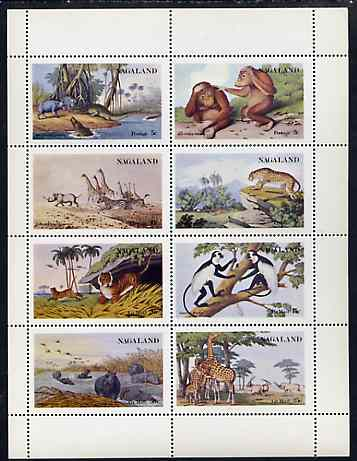 Nagaland 1972 African Wild Animals (Zebra, Giraffe, Crocs, Apes, etc) perf set of 8 values unmounted mint