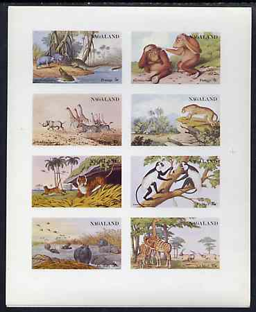 Nagaland 1972 African Wild Animals (Zebra, Giraffe, Crocs, Apes, etc) imperf set of 8 values unmounted mint