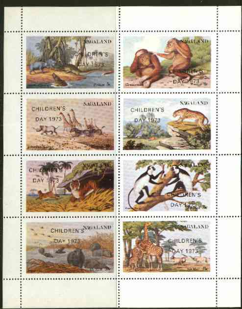 Nagaland 1973 African Wild Animals (Zebra, Giraffe, Crocs, Apes, etc) perf set of 8 values opt'd CHILDRENS DAY 1973 unmounted mint