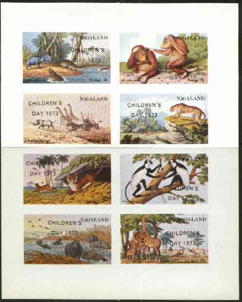 Nagaland 1973 African Wild Animals (Zebra, Giraffe, Crocs, Apes, etc) imperf set of 8 values opt'd CHILDRENS DAY 1973 unmounted mint
