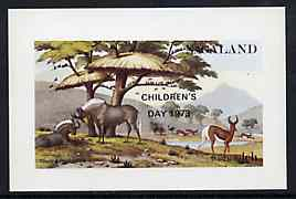 Nagaland 1972 African Wild Animals imperf souvenir sheet (1ch value) opt'd CHILDRENS DAY 1973, unmounted mint