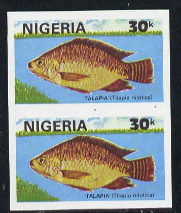 Nigeria 1991 Fishes 30k (Talapia) in unmounted mint imperf pair SG 614var