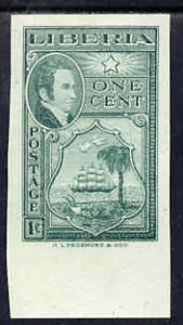 Liberia 1952 Ashmun 1c Seal of Liberia imperf colour trial in near issued colour (as SG 715) unmounted mint