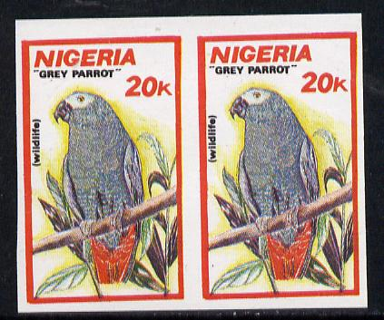 Nigeria 1990 Wildlife - Grey Parrot 20k unmounted mint imperforate pair (as SG 599)*