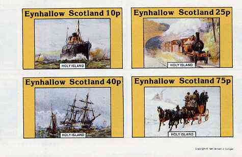 Eynhallow 1981 Transport (Ship steam & sail, Rail, Coach) imperf  set of 4 values unmounted mint