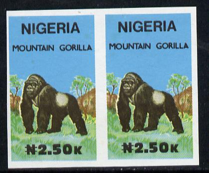 Nigeria 1990 Wildlife - Gorilla N2.50 unmounted mint imperforate pair*
