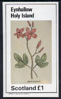 Eynhallow 1982 Plants (Herb Robert) imperf  souvenir sheet (�1 value) unmounted mint, stamps on flowers    herbs