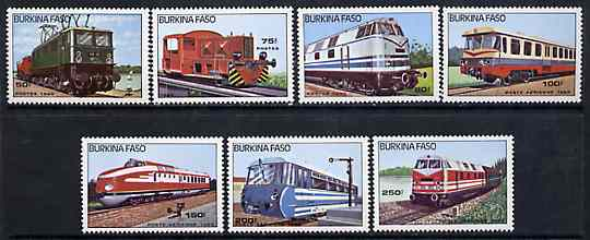 Burkina Faso 1985 Diesel & Electric Locos unmounted mint complete set of 7, SG 809-15, Mi 1043-49*